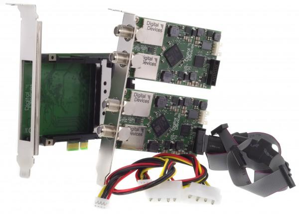 4 Tuner TV Karte DVB-S/S2 + 2x CI Slot für PCIe (Set) - 2x DD DuoFlex S2 & DD Octopus Twin CI