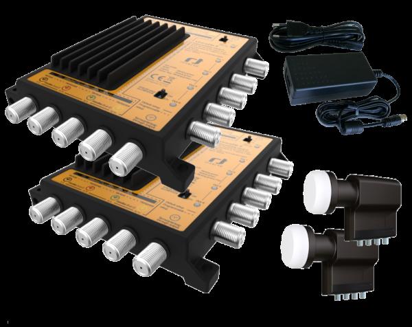 Unicable II Set 4x16 - 2 Satelliten - Quattro LNBs