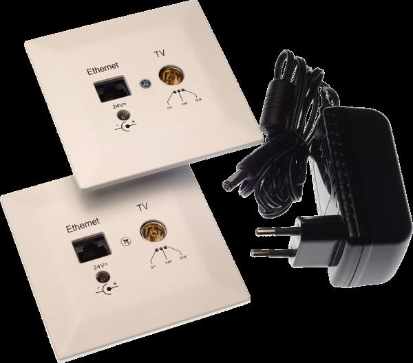 DD PoLiCoax 500 Starter Set (2x Dosen + Netzteil) - PowerLine Coax DVB-C