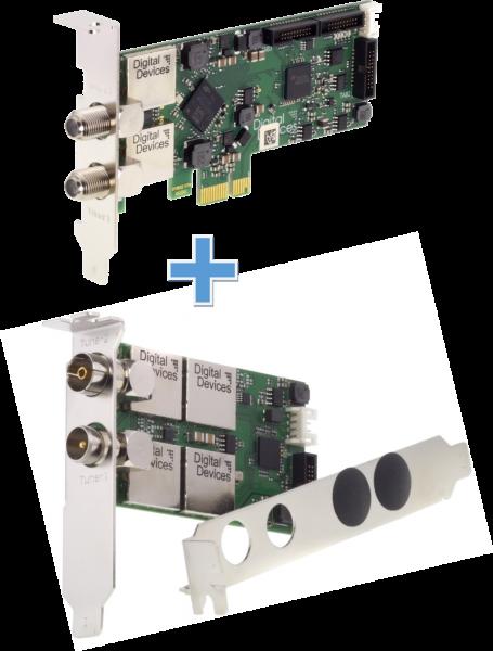 4 Tuner TV card mixed (DVB-S2/C2/T2) für PCIe (Set) - DD Cine S2 V7 & DuoFlex C2T2 V3