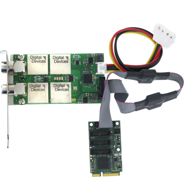 Twin Tuner TV Karte DVB-C/C2/T/T2/ISDB-T (4 Port Bridge) - DD DuoFlex C2T2 Octopus mini V2 (mini-PCI
